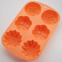 "BE-4404S Форма для выпечки 6 кексов ""Клумба"" цвет:персиковый 33.2x21.7x4.5см (48)"