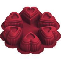 """Форма для выпечки из силикона """"Сердце"""" 24,5х4,5 см 6 ячеек MARMITON 16027"""