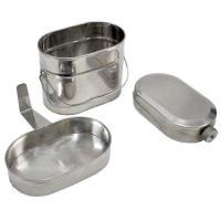 Набор посуды для солдата (котелок с ручкой 1,4л,глубокая крышка 0,5л с фикс руч,фляга) Нн-015