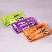 Набор столовых приборов 24 предмета с пластиковыми ручками в комплекте с подставкой (5242)