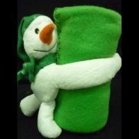 "Плед флис ""Новогодний"" снеговик зеленый"